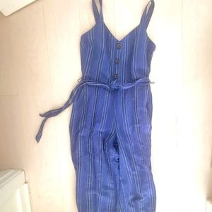Gap cotton striped blue jumpsuit